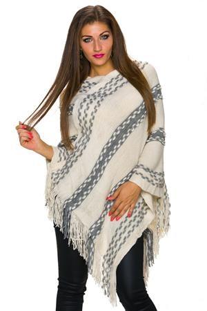 poncho tricotat bej