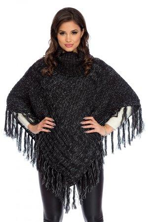 poncho negru tricotat