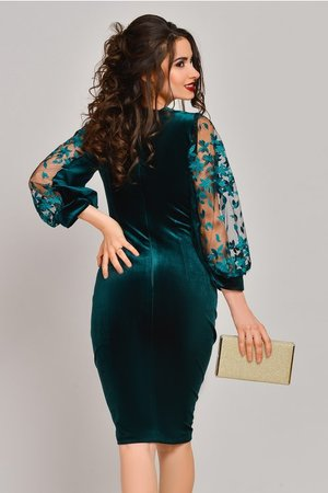 rochie verde din catifea
