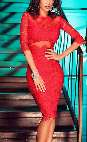 rochita rosie din dantela