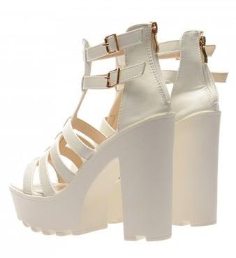 sandale albe cu platforma