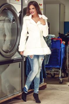 palton dama alb scurt