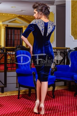 rochie catifea albastra