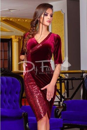 rochie catifea bordo