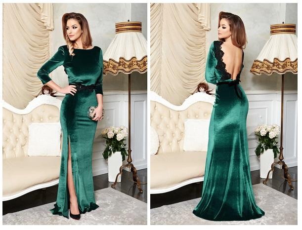 rochie catifea verde