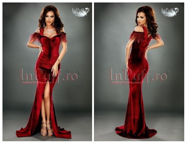 rochie lunga catifea rosie