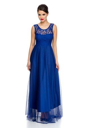 rochie lunga tull albastru
