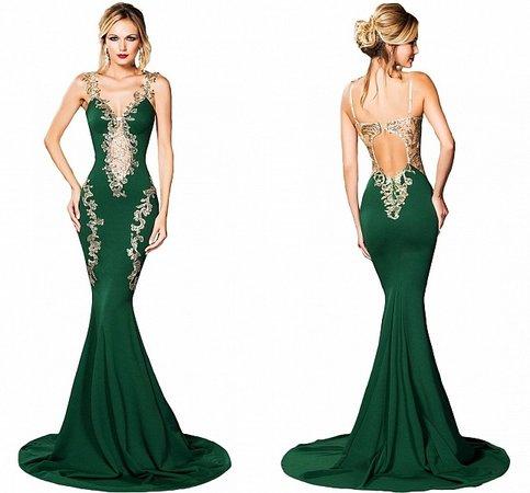 rochie verde stil sirena