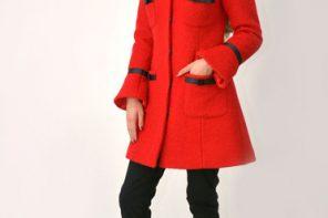 Palton rosu elegant cu guler rotunjit