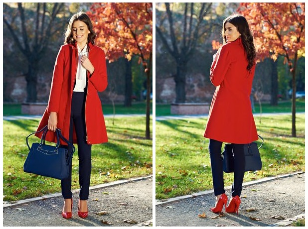 palton rosu cu fermoar