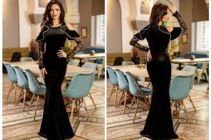Rochie lunga din catifea neagra
