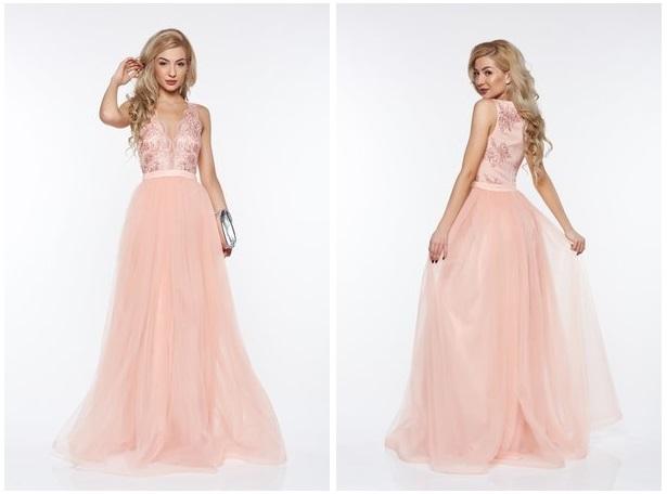 rochie piersica de ocazie