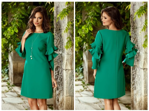rochie verde cu volane
