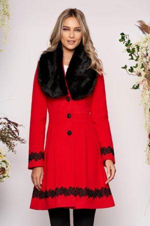palton rosu elegant