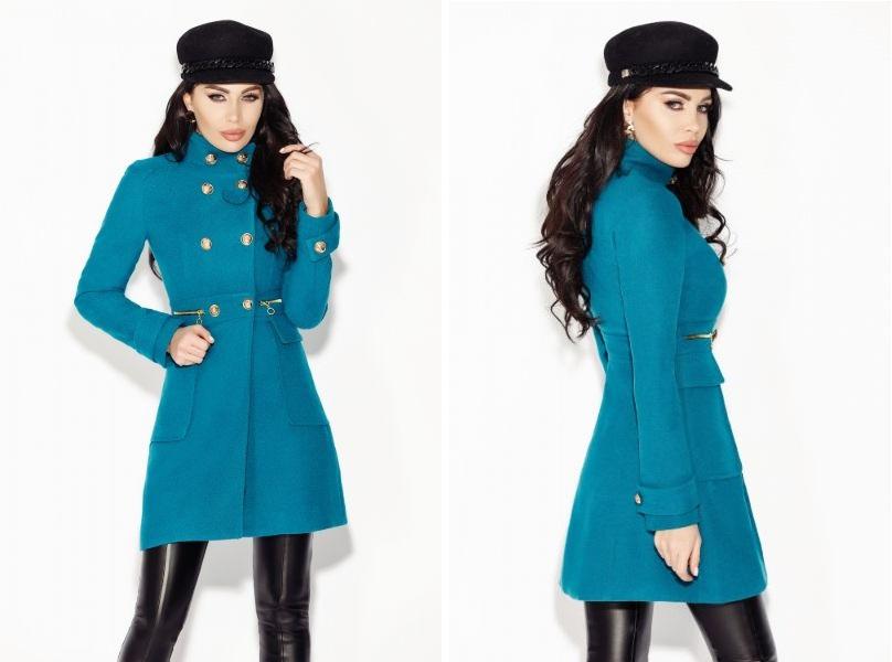 palton turquoise stofa