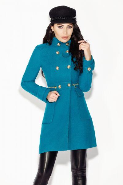 palton turquoise din stofa