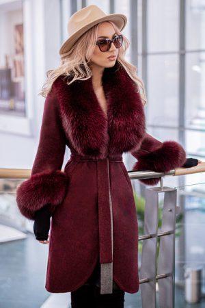 palton bordo lana alpaca