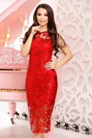 rochie rosie midi