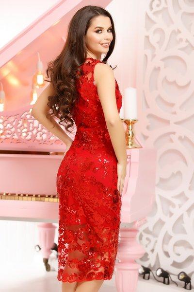 rochie rosie midi de ocazie
