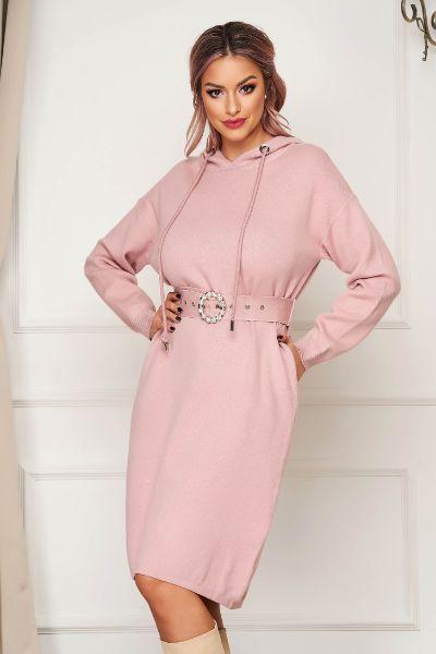 rochie roz midi de zi