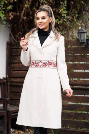 palton alb iarna