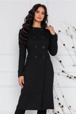 palton lung negru