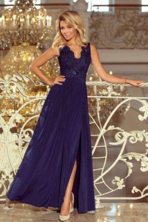 Rochie eleganta lunga cu dantela bleumarin
