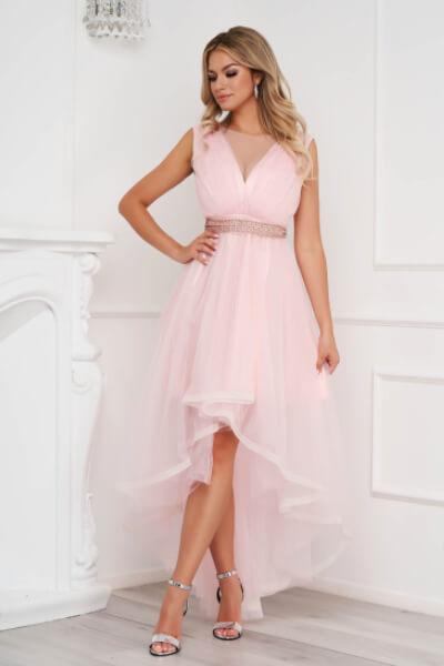 Rochie roz asimetrica de ocazie