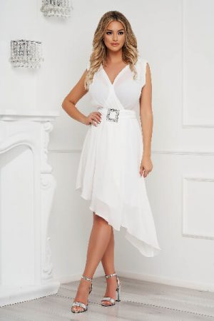 rochie alba eleganta asimetrica
