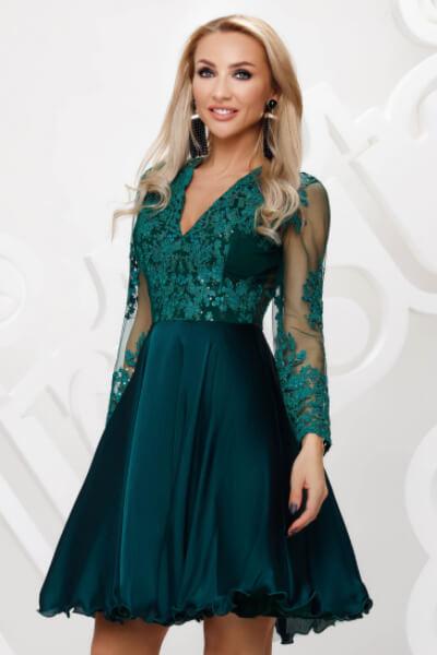 rochie dantela verde