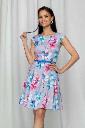 rochie gri cu imprimeu floral