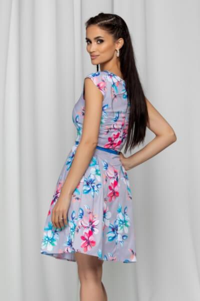 rochie gri cu imprimeu