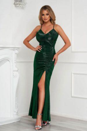 rochie verde lunga de ocazie tip creion