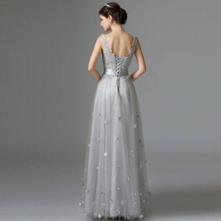 Rochie lunga de seara din tule argintiu