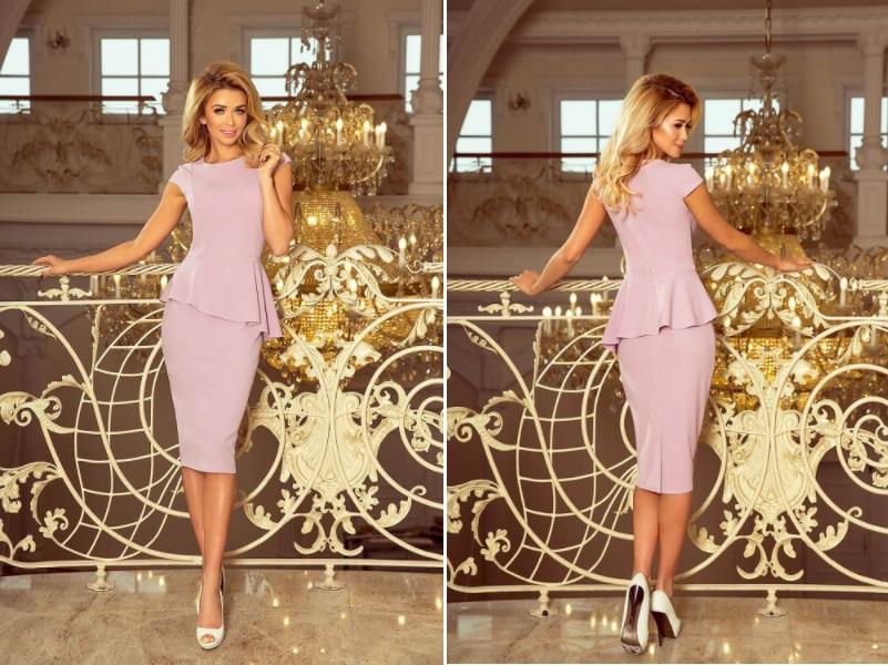 Rochie midi eleganta cu peplum lila
