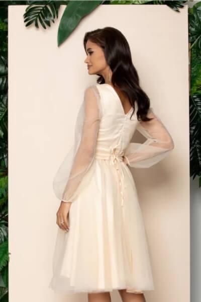 rochie eleganta peach din tulle