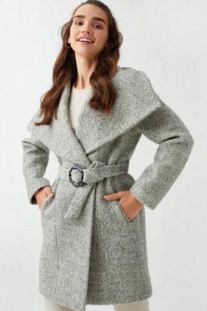 Palton din amestec de lana gri