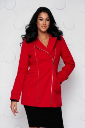 palton-sunshine-rosu-elegant-scurt