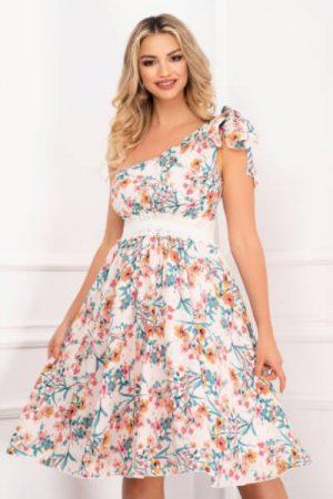 rochie-din-voal-cu-imprimeu-multicolor