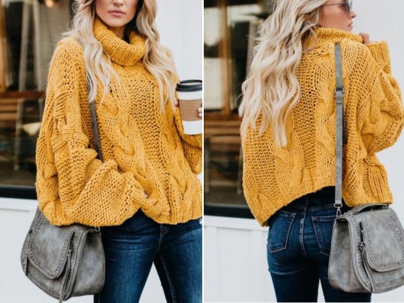 pulover din tricot galben
